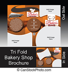 Tri Fold Bakery Shop Brochure Vector illustation