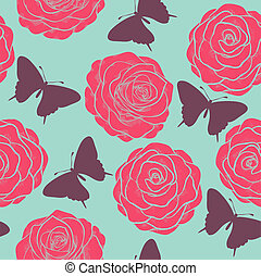 Beautiful seamless pattern with roses and silhouettes of butterflies. Painted in pastel colors in graphic style