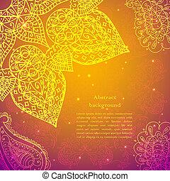 Gold Indian Vintage Ornament. Vector illustration for your business presentation