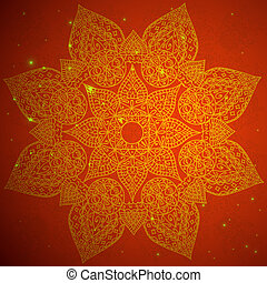 Red indian ornament. Vector illustration
