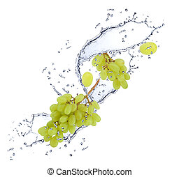 Grape in water - Grape falling in water splash, isolated on...