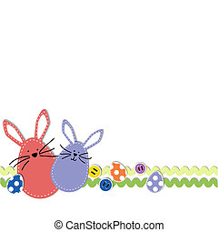 Easter bunnies with easter eggs and sewing buttons on a...