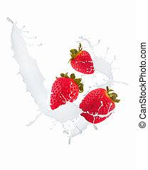 strawberry milk splash - Strawberries and leaf in milk...