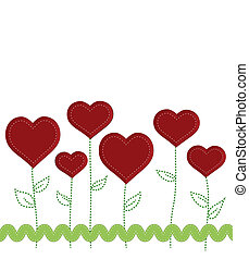 Heart flowers with stitched stems and leaves decorated with...
