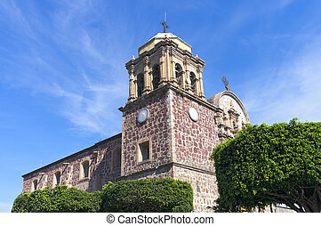 Church Corner in Tequila Mexico - Church exterior with bell...