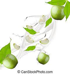 apple milk splash - Apple and leaf in milk splash, isolated...