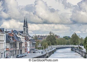Escaut River passing through Tournai in Belgium - Escaut...
