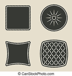 cushion stylized icons set - vector illustration