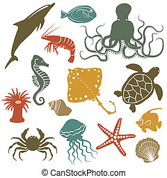 mar, animais, peixe, ícones