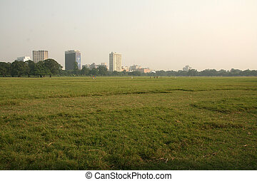 The Maidan, Kolkata, India - The Maidan Park in the city of...