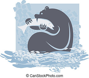 Grizzly Catching Salmon - Abstract bear caught and eating...