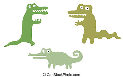 Green Cute Crocodiles - Set of cute googly eyed cartoon...