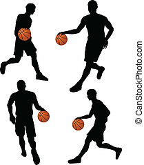 basketball players silhouette collection in dribble position...