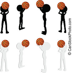 basketball players silhouette collection in free throw...