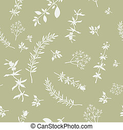 Seamless With Herbs Silhouettes - Seamless pattern with...