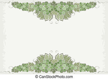 Composition With Green Grape - Illustration with two bunches...