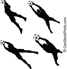 poses of soccer players silhouettes in air jumping position...