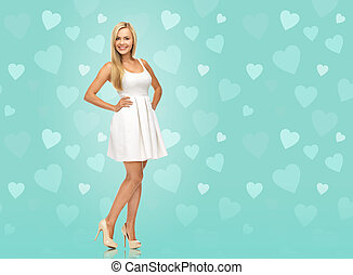woman in white dress over blue background - beauty, fashion...