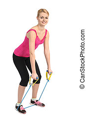 Back extension exercise using rubber resistance band -...