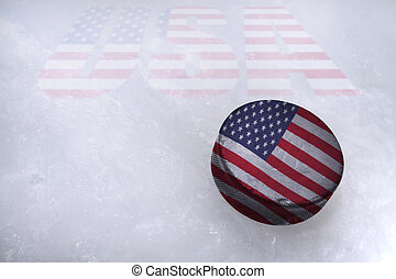 American Hockey - Vintage old hockey puck with the United...