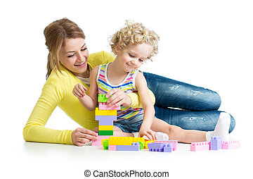 kid and mother play toys together