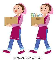 Woman carrying a luggage