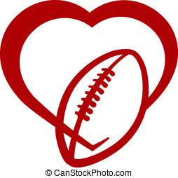Américain, football, coeur