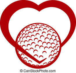Golf Heart - Red stylized golf ball wrapped in the bottom of...