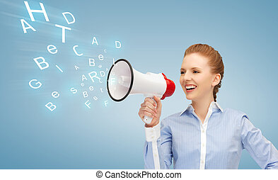 happy woman with megaphone - business and communication...