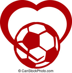 Soccer or Football Heart - Red stylized soccer ball or...