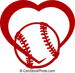 Softball or Baseball Heart - Red stylized softball or...