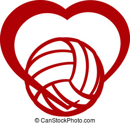 Volleyball Heart - Red stylized volleyball wrapped in the...