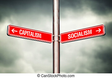 Capitalism or Socialism concept. Street sign pointing to...