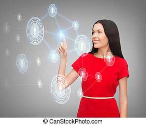 woman in red dress and business network - business,...
