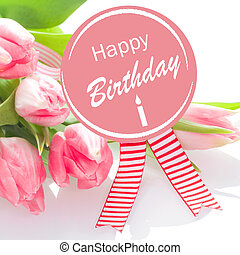 Happy Birthday wishes on a round pink rosette with colourful...