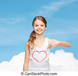 adolescente, camisa, menina, em branco, sorrindo, branca
