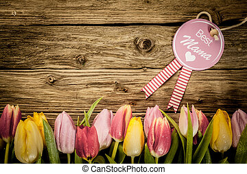 Mothers Day greeting with a tulip border - Mothers Day, or...