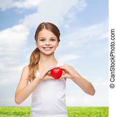 girl in blank white shirt with small red heart - shirt...