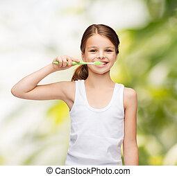 girl in blank white shirt brushing her teeth - shirt design,...
