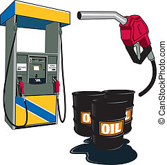 Oil and petrol - Gas station and barrels of oil and gas...