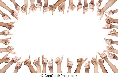 human hands showing thumbs up in circle - gesture and body...