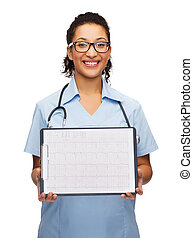 female doctor in eyeglasses with cardiogram - medicine and...