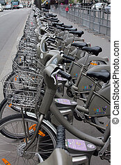 Velib bucycles in the row on January 6, 2012 in Paris,...