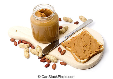 Peanut butter - Slice of bread with peanut butter spread