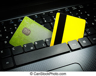 Online payment - Two credit cards on the computer keyboard...