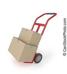 Hand truck with boxes - Hand truck with two cardboard boxes