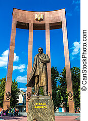 monument of national Ukrainian hero S. Bandera and great...