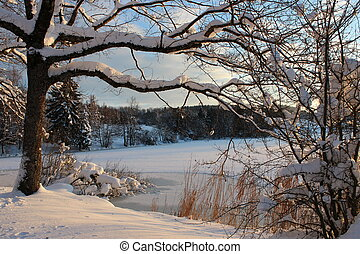 Frozen lake - beautiful frozen lake with snowy landscape in...