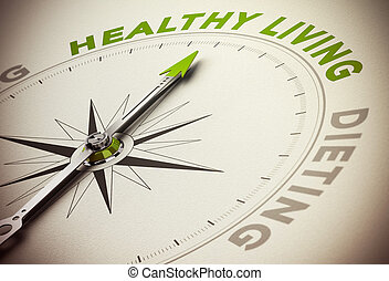 Healthy Life Style VS Diet Concept - Compass with needle...