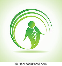 Male icon made by a leaf stock vector